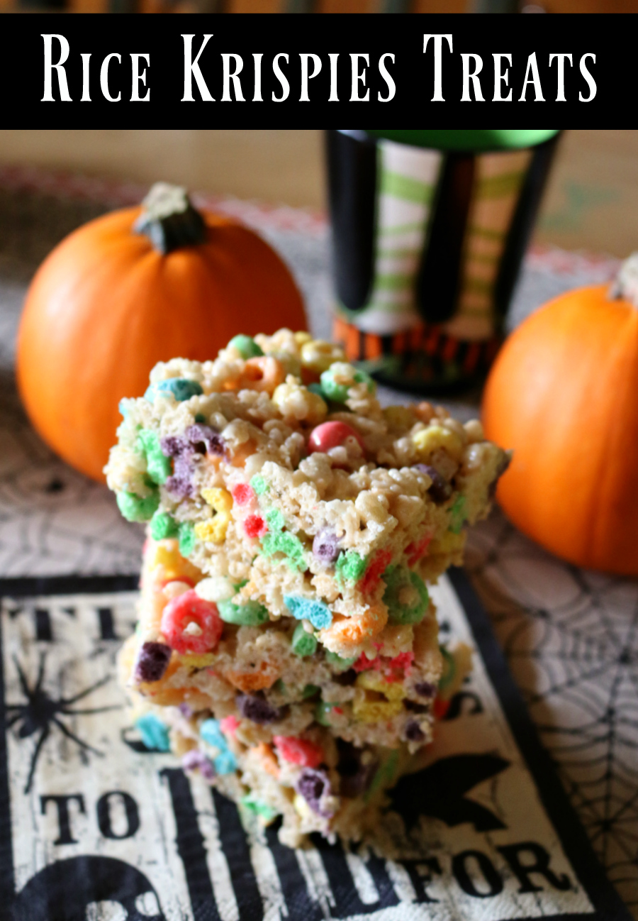 Recipe for Rice Krispies Treats with Fruit Loops - this makes an awesome Halloween Dessert!