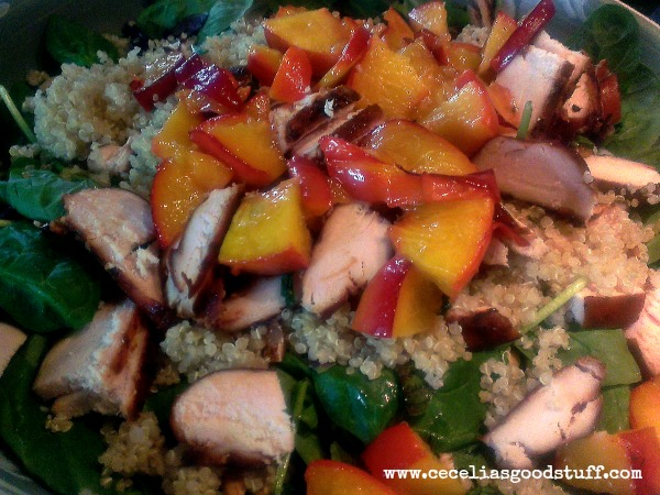 Spinach Salad with Quinoa, Smoked Chicken and Grilled Peaches