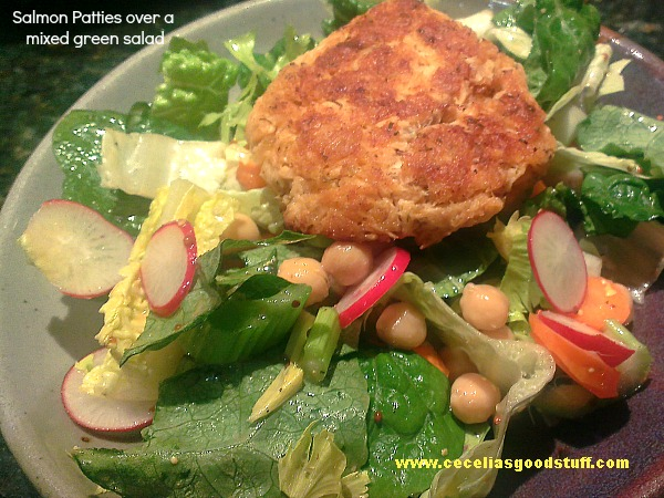 Salmon Cakes over Mixed Green Salad