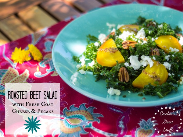 Roasted Golden Beet Salad with goat cheese and pecans