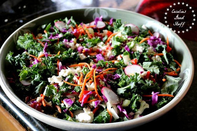 Kale Salad with Lemon Herb Vinaigrette CeceliasGoodStuff.com Good Food for Good People
