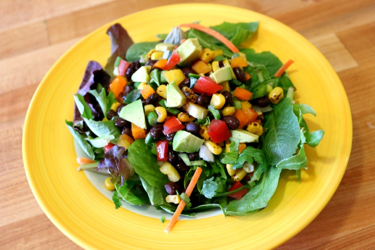 Mixed Greens with Black Bean Salsa