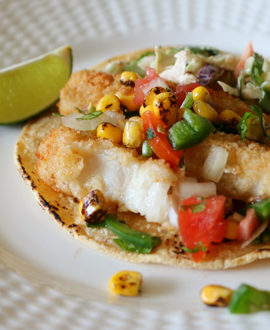 These easy FISH TACOS are amazing with the fresh Tomato Corn Salsa. My children just love them, and your family will too.
