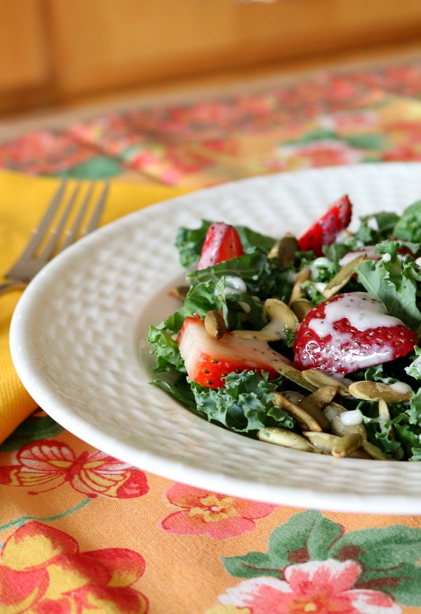 Recipe for Kale and Strawberry Salad with an easy and delicious Poppy Seed Dresssing