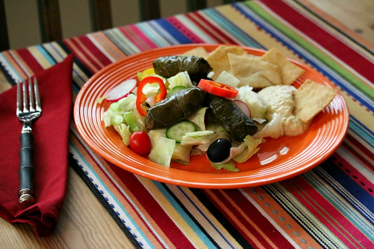 Easy Greek Salad with Dolmas and Hummus
