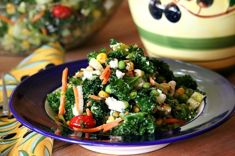 Summer Kale Salad with Italian Vinaigrette