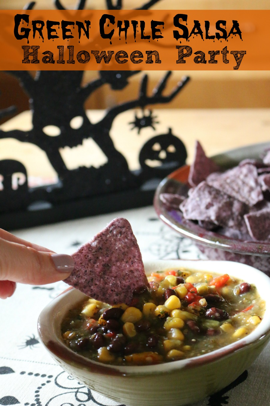Green Chile Salsa - perfect Halloween Party Menu Idea - made in 3 Minutes!