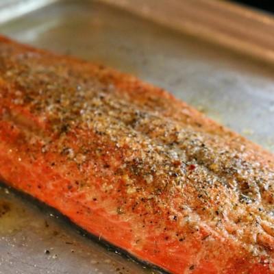 Salmon, Safron Rice & White Wine Caper Sauce