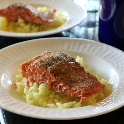 Baked Salmon in White Wine with Saffron Rice