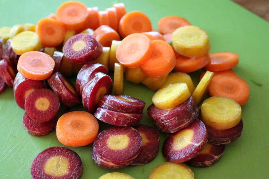 A medley of carrots for the pot of fire roasted tomato soup.