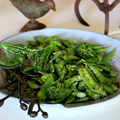 Broccoli & Snap Pea Salad with Tahini Dressing