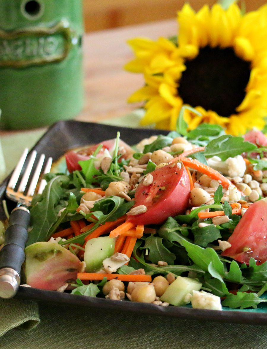 It is  the perfect time to use some garden tomatoes, try making this delicious Arugula Heirloom Salad with a tasty Dijon Vinaigrette.