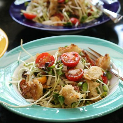 Sunflower Sprout Salad with Croutons