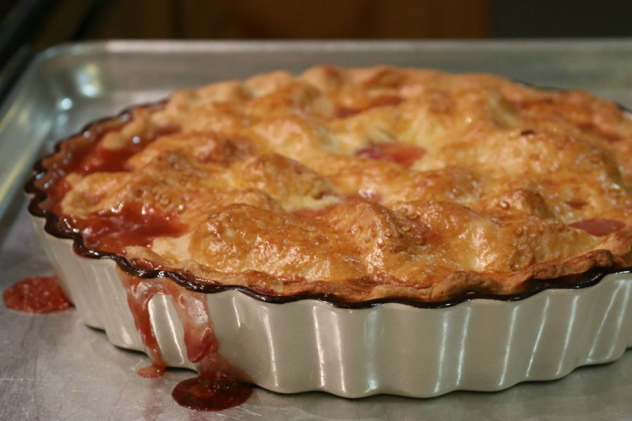 The peaches were so juicy the juice was overflowing, a great sign of a juice homemade peach pie.