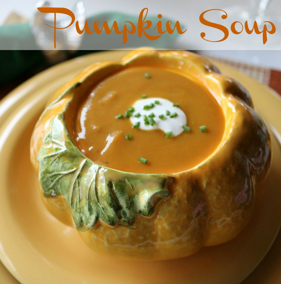 Easy and delicious Pumpkin Soup a perfect appetizer or addition to your Thanksgiving menu.