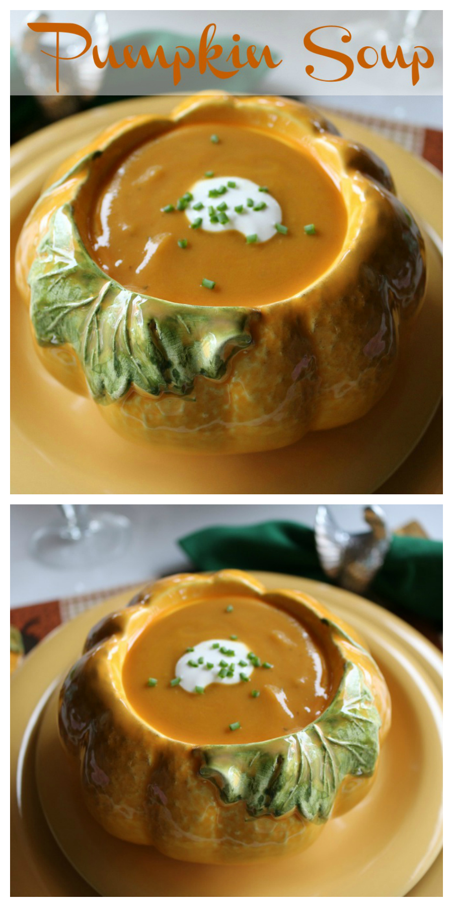 Perfect for Fall or your Thanksgiving Menu. The recipe for Pumpkin Soup is sure to please your family and guests.  CeceliasGoodStuff.com | Good Food for Good People