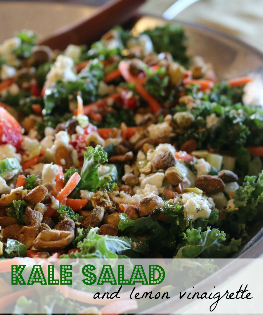 Loaded Kale Salad with a tangy homemade Lemon Vinaigrette.