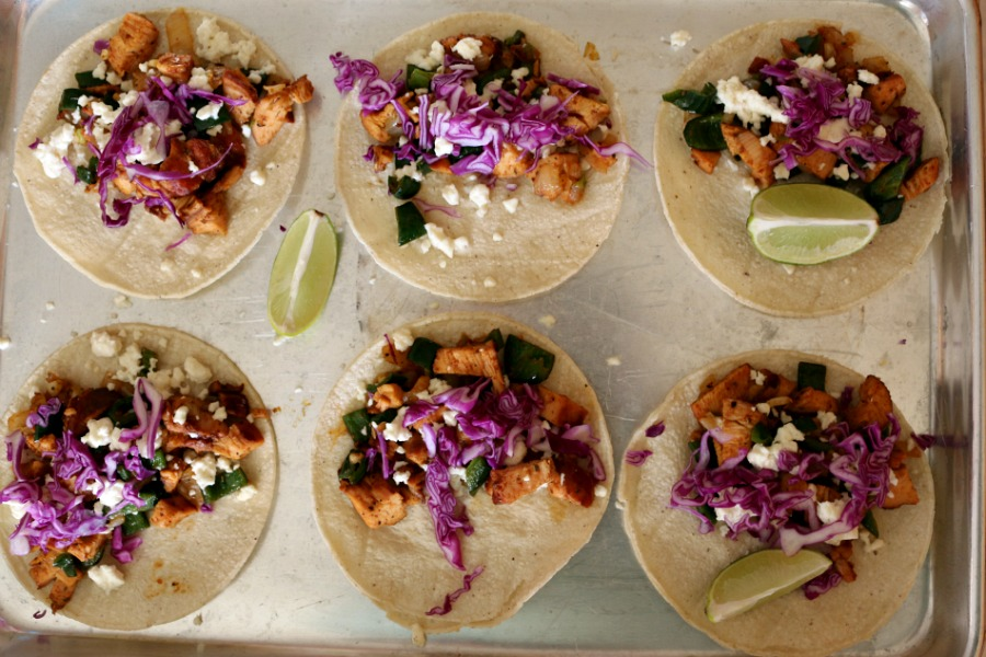 Red Chile Chicken Tacos