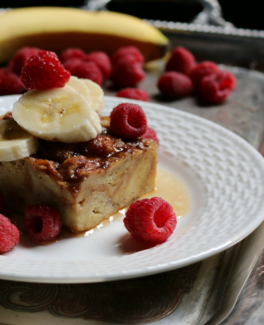 Recipe for Croisant French Toast Casserole with bananas and raspberries