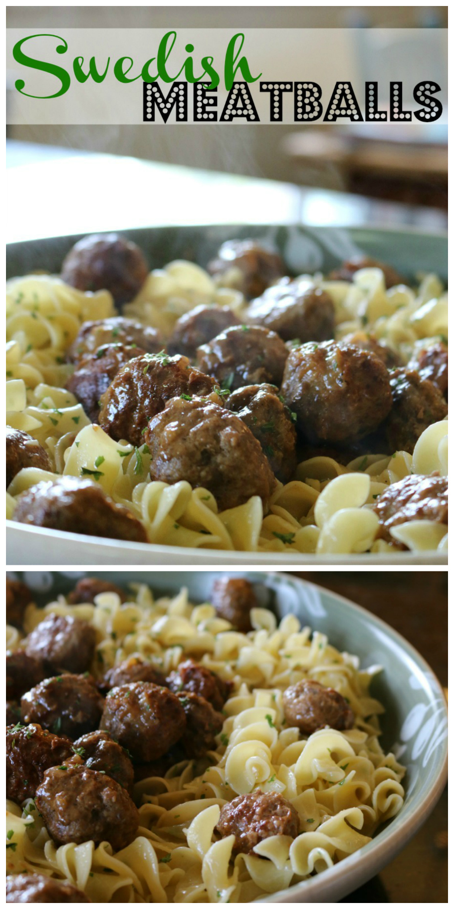 Sweedish Meatballs over Egg Noodles| CeceliasGoodStuff.com | Good Food for Good People