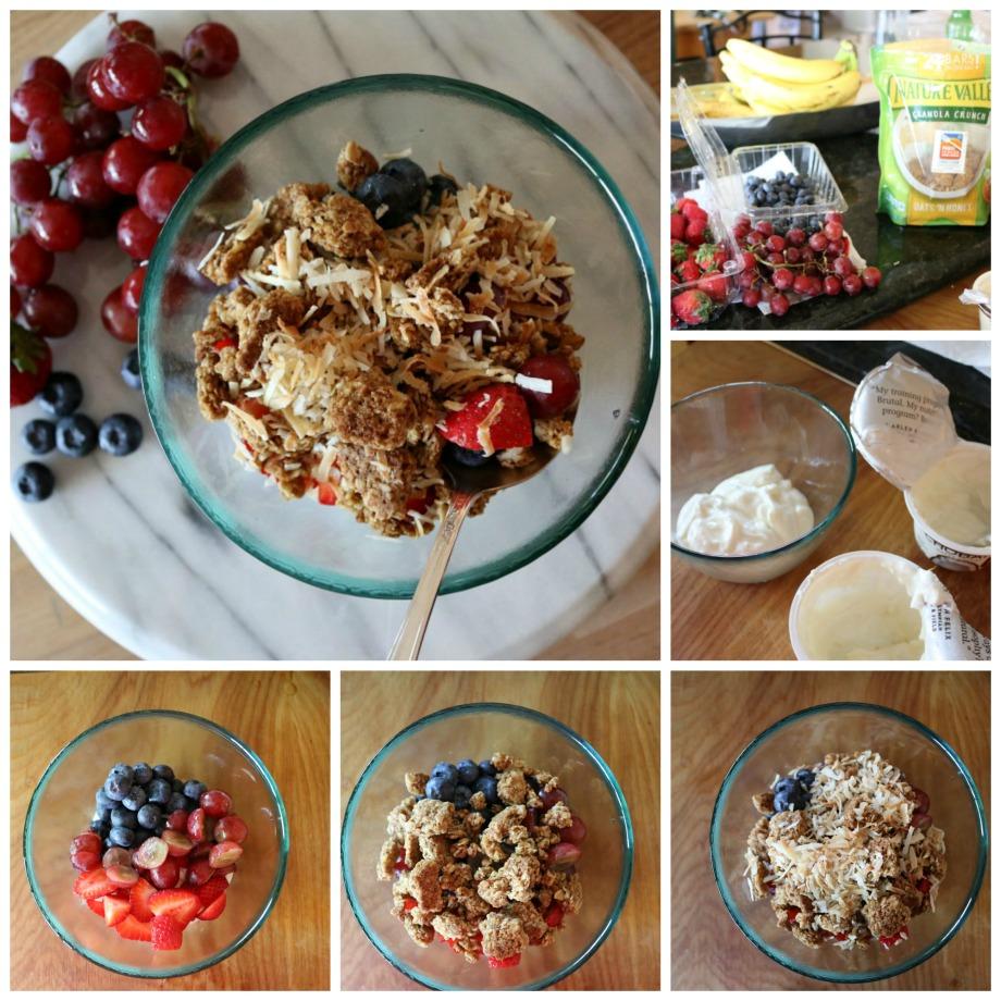 Yogurt Fruit Breakfast Bowl, I use honey vanilla yogart and coconut yogurt. Feel free to use your favorite yogurt and fruit.