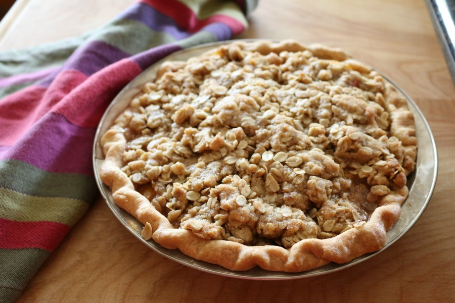 Crumble Peach Pie Recipe CeceliasGoodStuff.com   Good Food for Good People