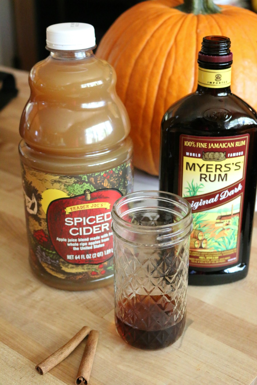Spiced Hot Apple Pie Cocktail with Dark Rum and Spiced Apple Cider
