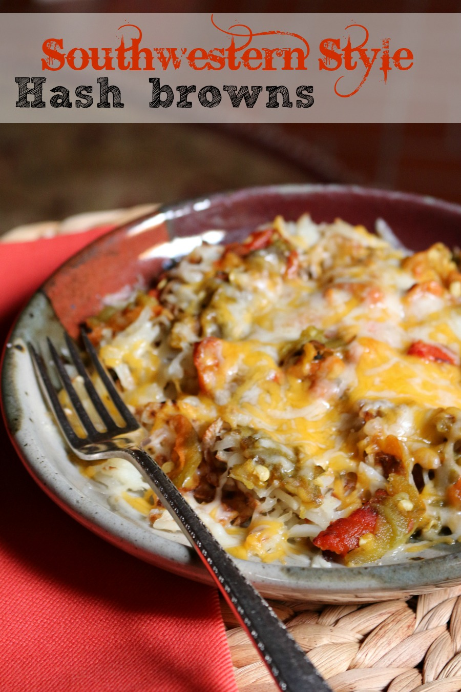 Southwestern Hash Browns - Crispy Hash Browns topped with fresh roasted New Mexico green chile and cheddar cheese. Delish!