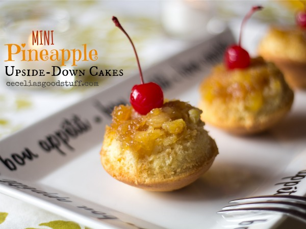 Pineapple Upside down Mini Cupcakes Recipe | www.ceceliasgoodstuff.com