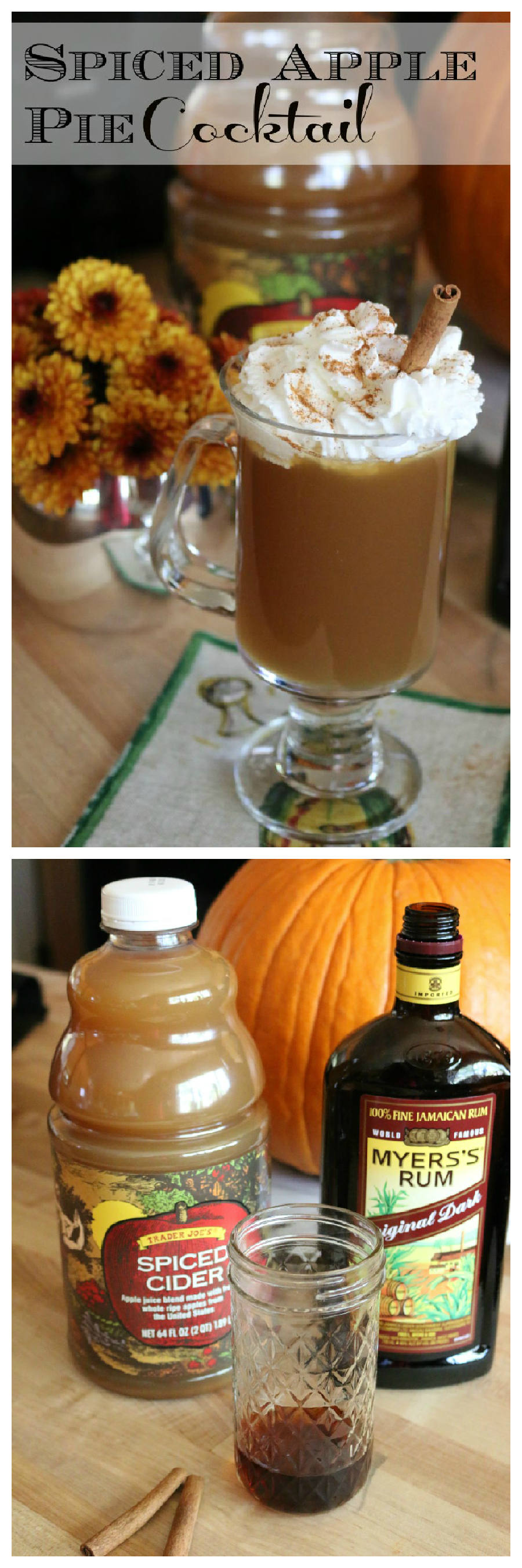 Spiced Apple Pie Cocktail Recipe perfect for a chilly evening or great addition to your Thanksgiving menu. | CeceliasGoodStuff.com | Good Food for Good People