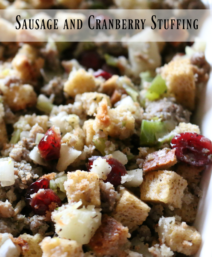 Sausage and Cranberry Stuffing , this would go well with turkey, chicken or pork.
