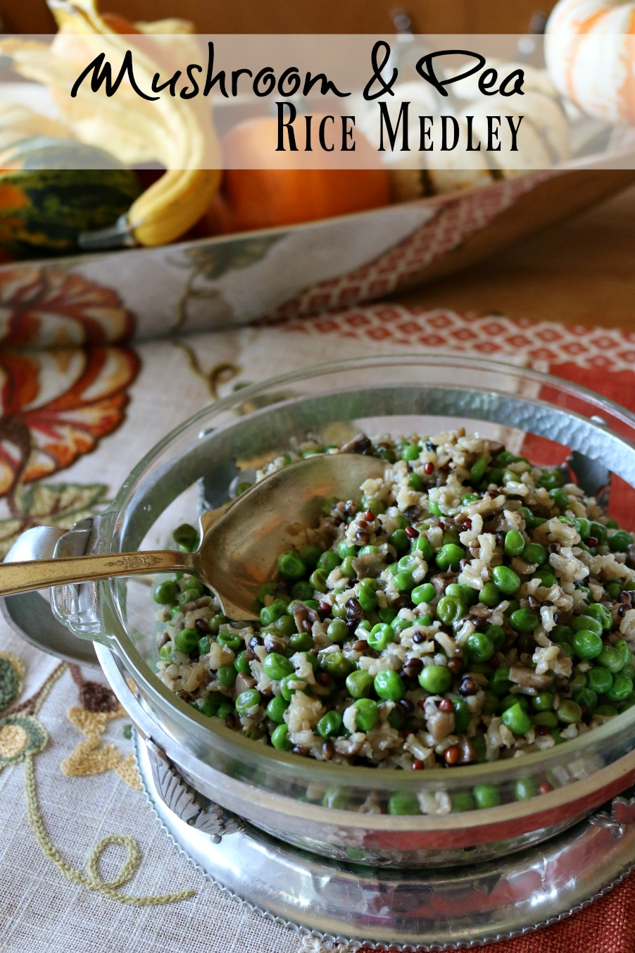 This rice medley with mushrooms and fresh petite sweet peas it the perfect side dish for any Thanksgiving Feast.