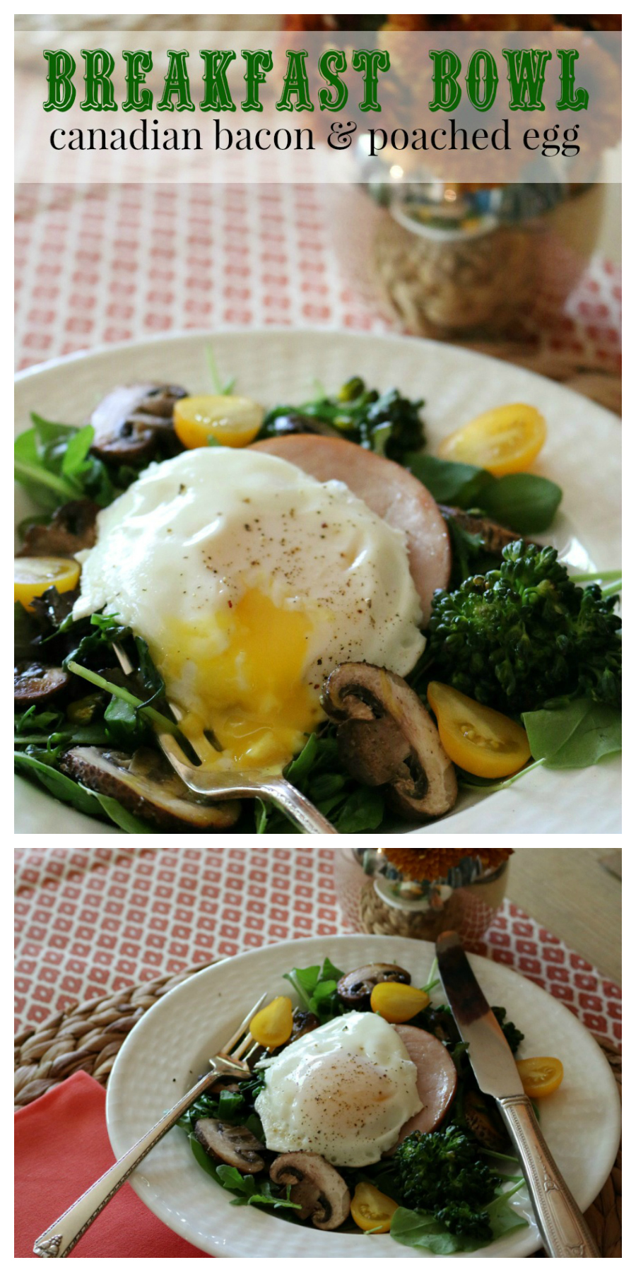 Breakfast Bowl with Canadian Bacon and topped with a Poached Egg CeceliasGoodStuff.com | Good Food for Good People