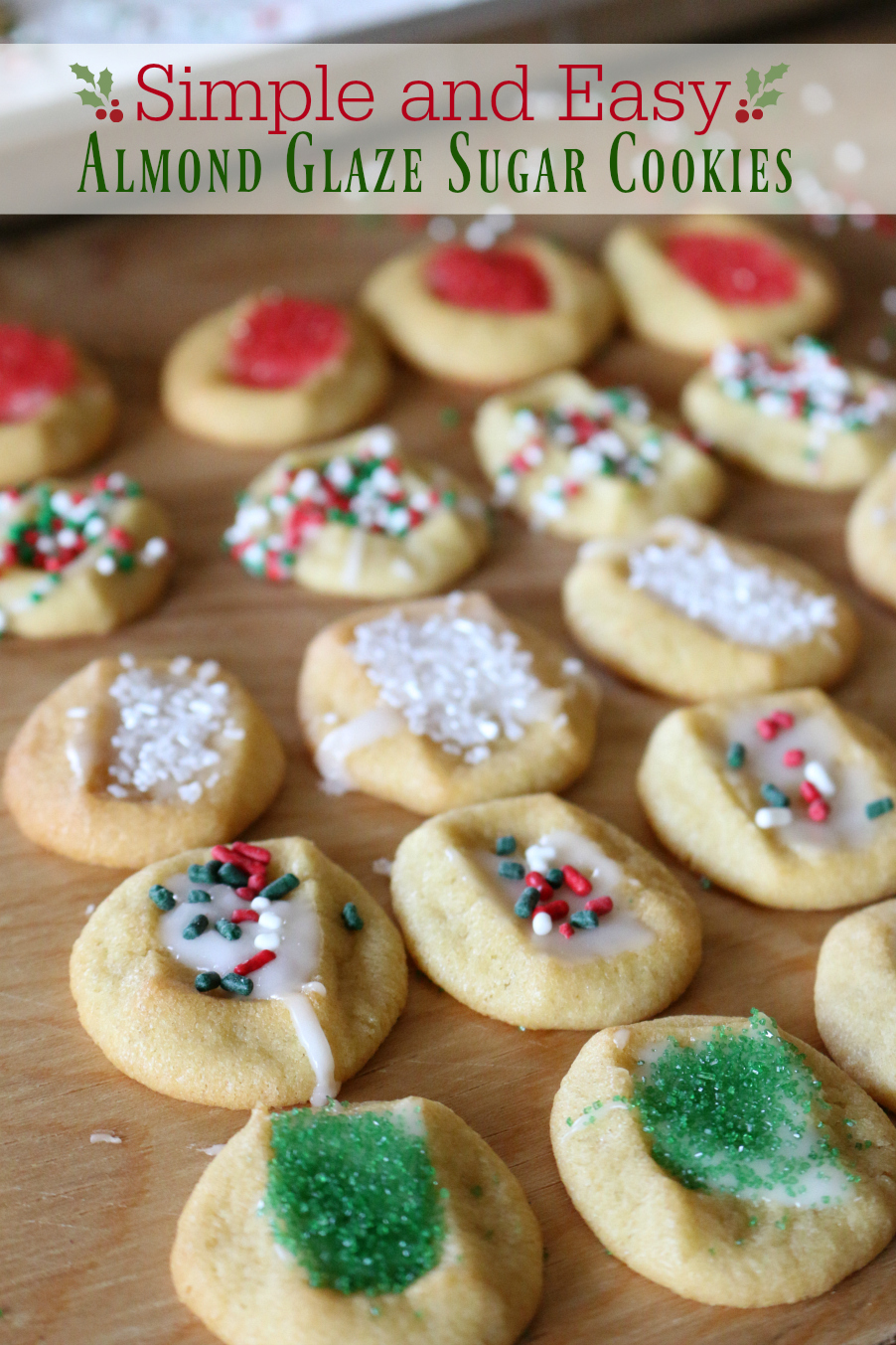 Cookie Emergency calls for Easy and Simple Almond Glaze Sugar Cookies with lots of sprinkles!