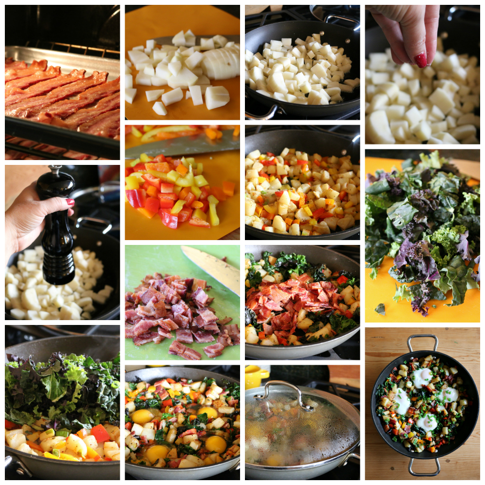 Breakfast never tasted this good . . . loads of vegetables, like potatoes, colorful bell peppers, scallions, rainbow kale, and topped with chopped bacon and eggs. | CeceliasGoodStuff.com