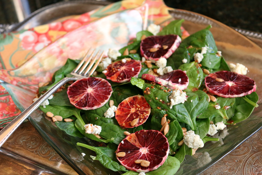 A Spinach Salad with Blood Orange Vinaigrette Recipe CeceliasGoodStuff.com