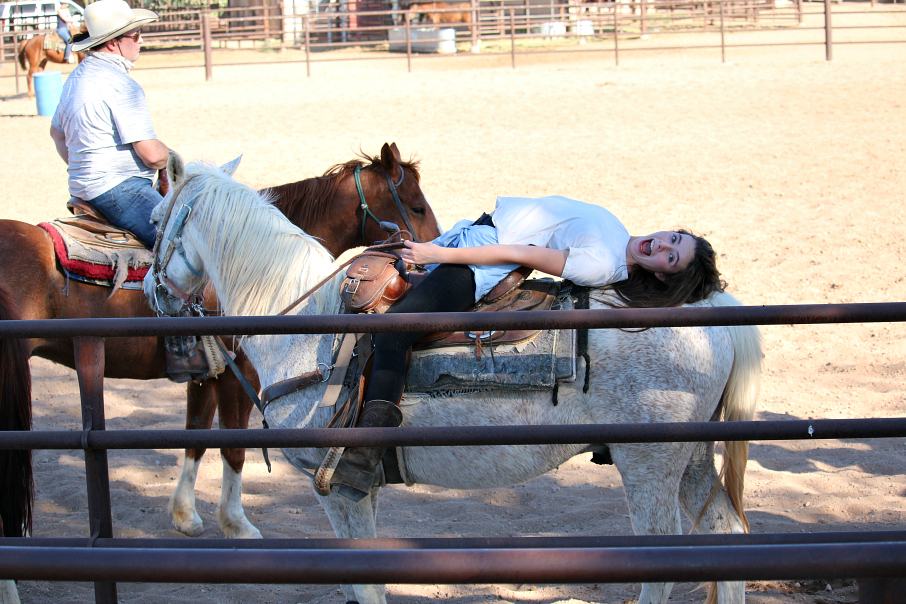 Look Mom I can lay on my horse . . . having fun at the White Stallion Ranch in Tucson, Arizona.