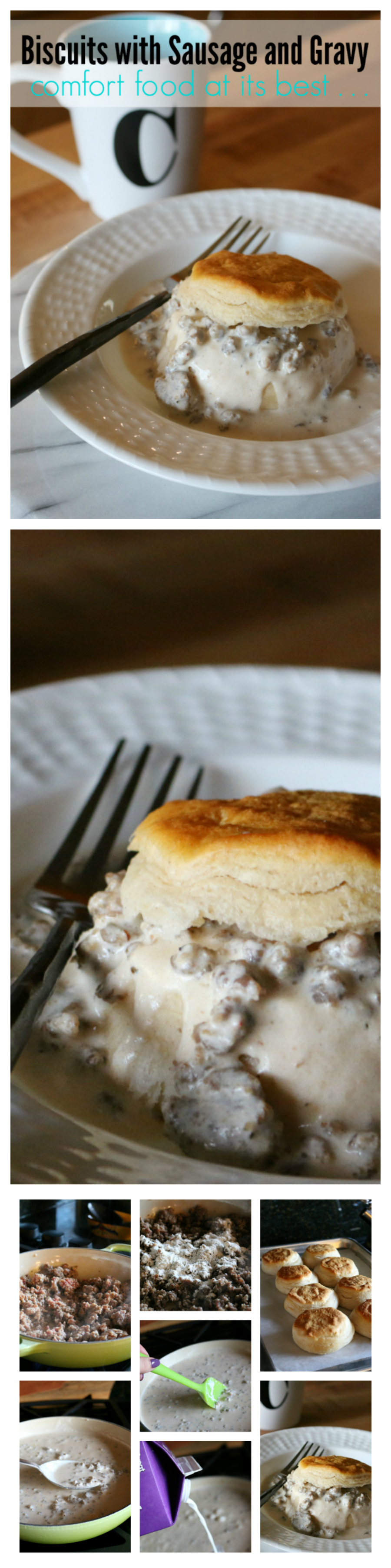 Biscuits and Sausage Gravy - Comfort Food for Breakfast  CeceliasGoodStuff.com | Good Food for Good People