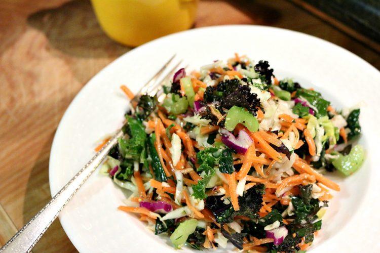 Rainbow Kale Salad with Lemon Dill Dressing