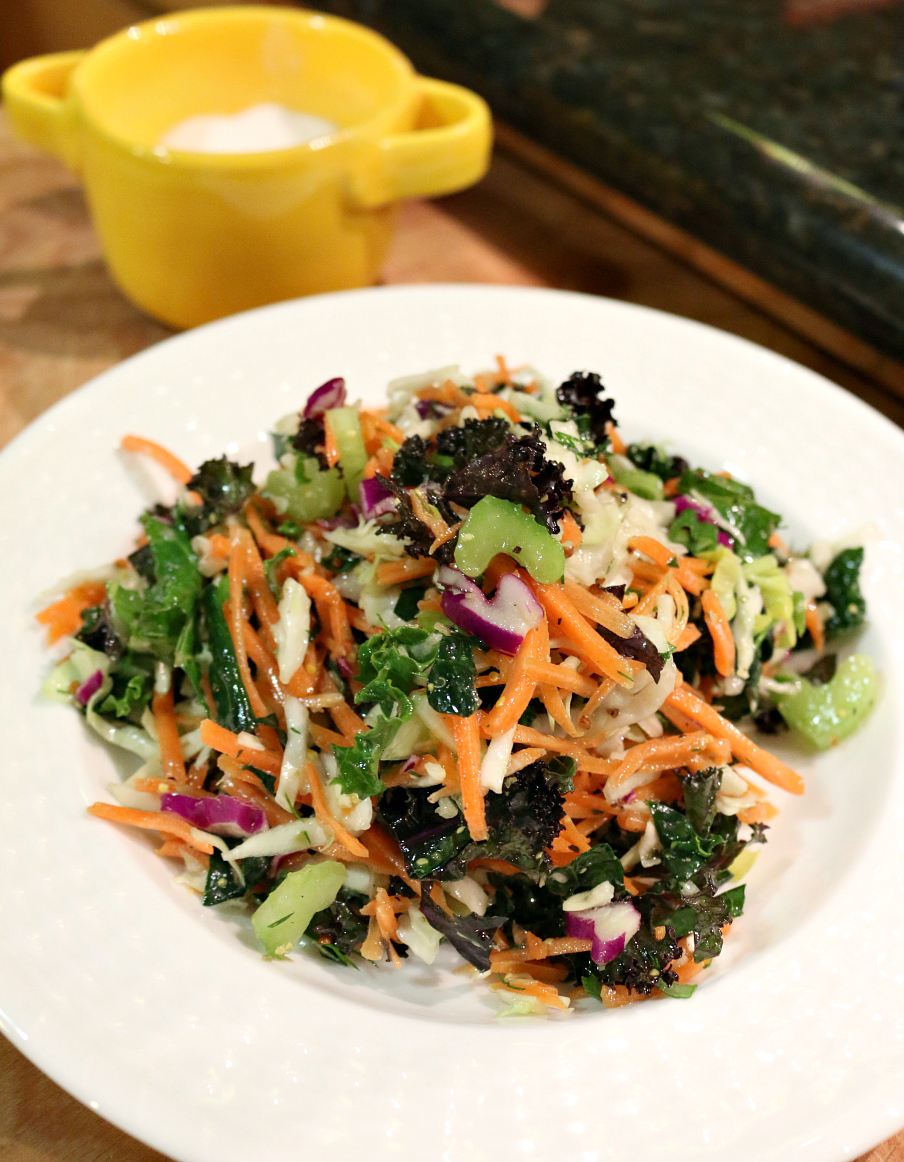 Rainbow Kale Salad with Lemon Dill Dressing - Delicious and Healthy Salad Ideas | CeceliasGoodStuff.com | Good Food for Good People