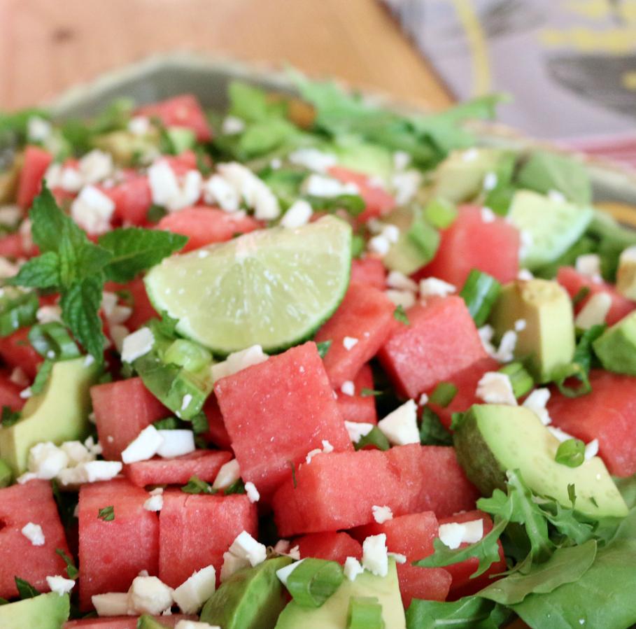 Watermelon Arugula Salad CeceliasGoodStuff.com Good Food for Good People