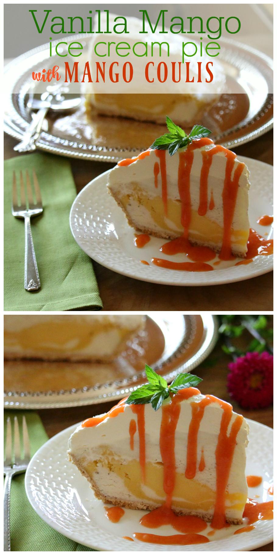 Vanilla Mango Ice Cream Pie with Mango Coulis