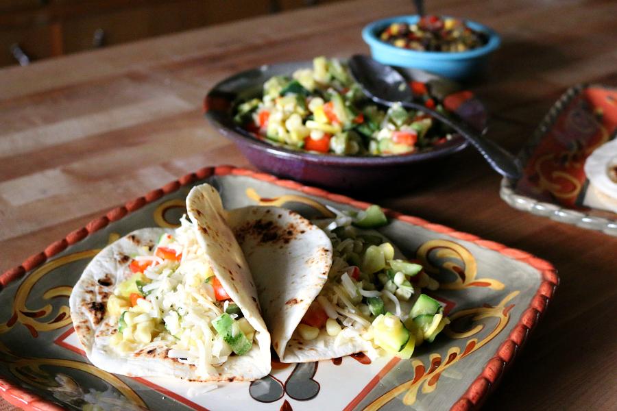 Veggie Tacos made with a batch of Calabacitas - Mexican Squash Saute CeceliasGoodStuff.com  Good Food for Good People