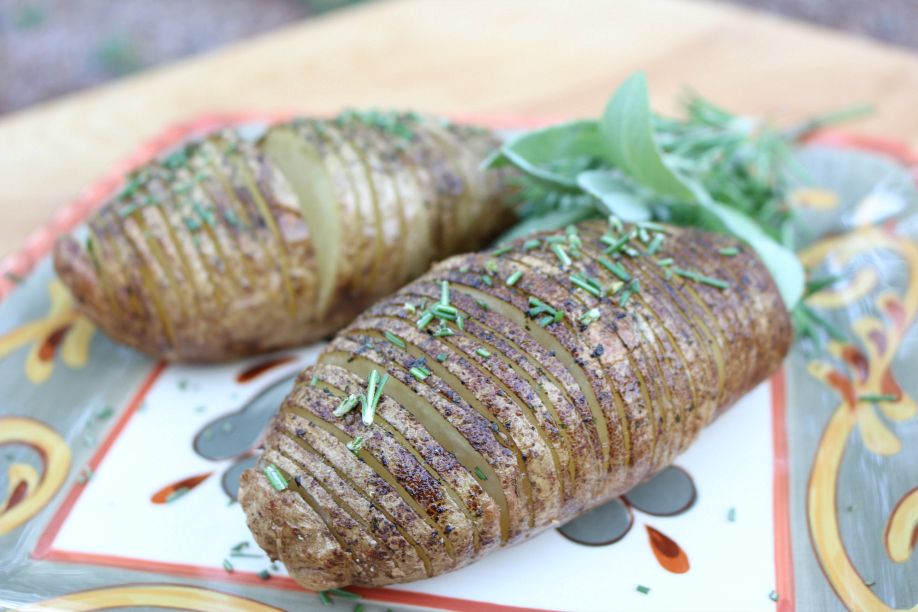 Rosemary Herb Roasted Sliced Potatoes CeceliasGoodStuff.com | Good Food for Good People