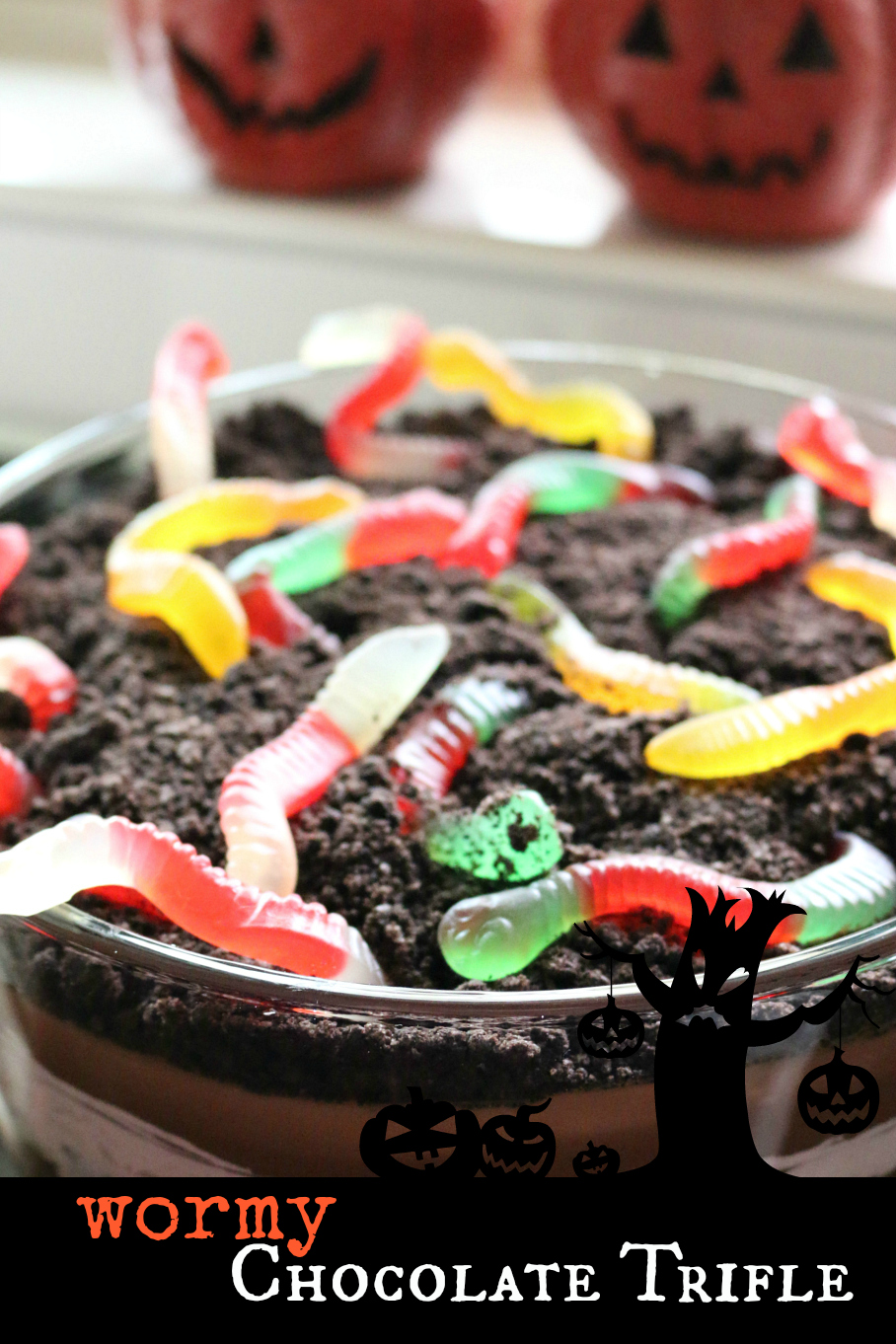 Wormy Halloween Chocolate Pudding Trifle Recipe CeceliasGoodStuff.com | Good Food for Good People