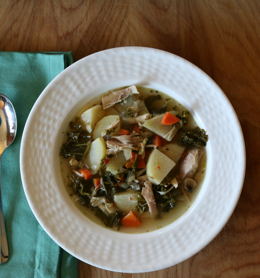 Tuscan Chicken Kale Soup CeceliasGoodStuff.com Good Food for Good People