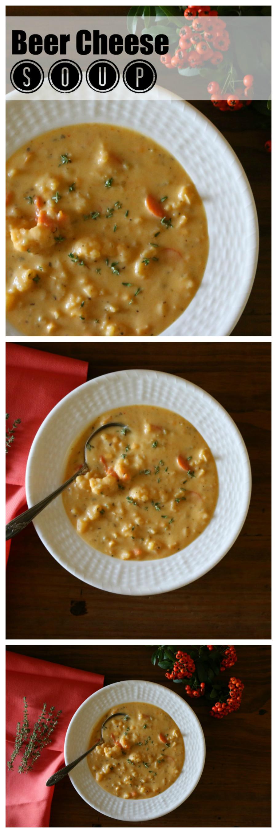 Beer Cheese Soup with Chunky vegetables like cauliflower and carrots. CeceliasGoodStuff.com   Good Food for Good People
