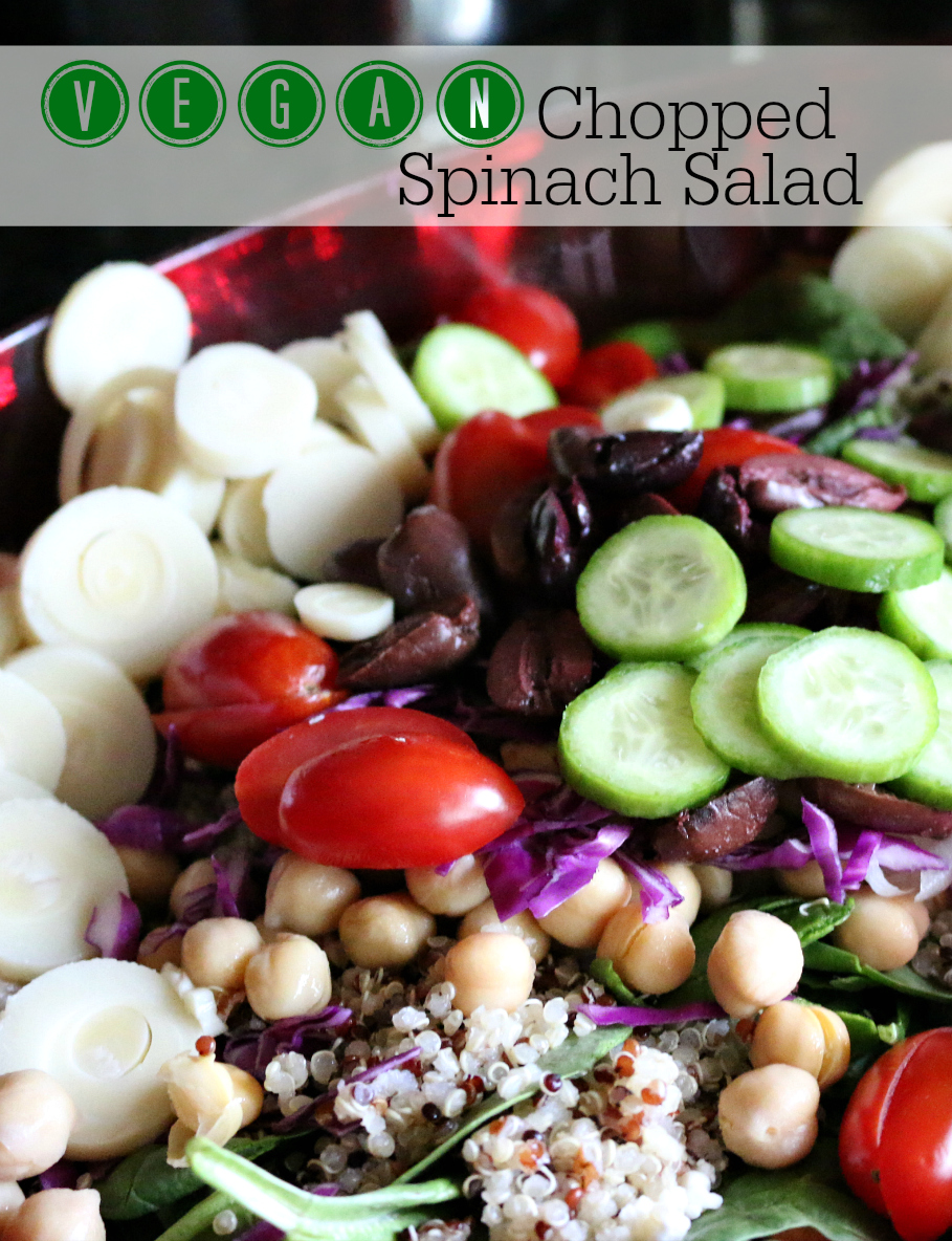 Vegan Chopped Spinach Salad Recipe CeceliasGoodStuff.com Good Food for Good People