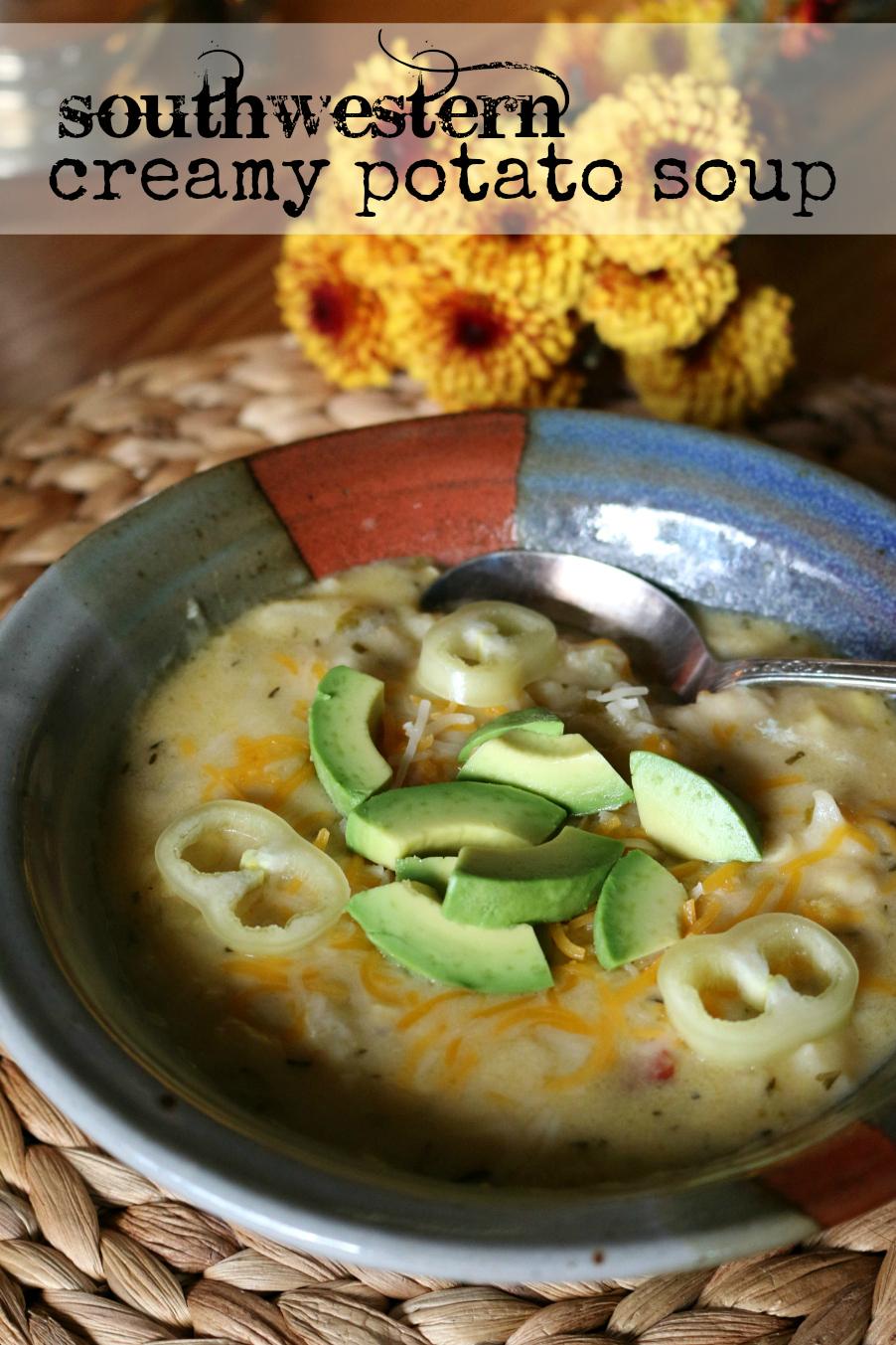 Southwestern Creamy Potato Soup Recipe CeceliasGoodStuff.com Good Food for Good People