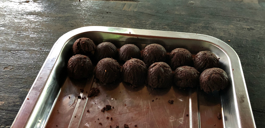 Fresh truffles made with the fresh ground cocoa beans La Iguana Chocolate, Costa Rica